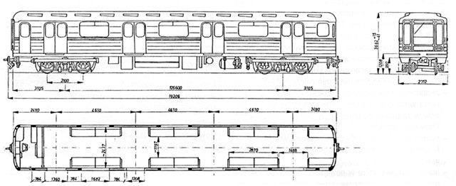 A 81-717 metróautó vázlata